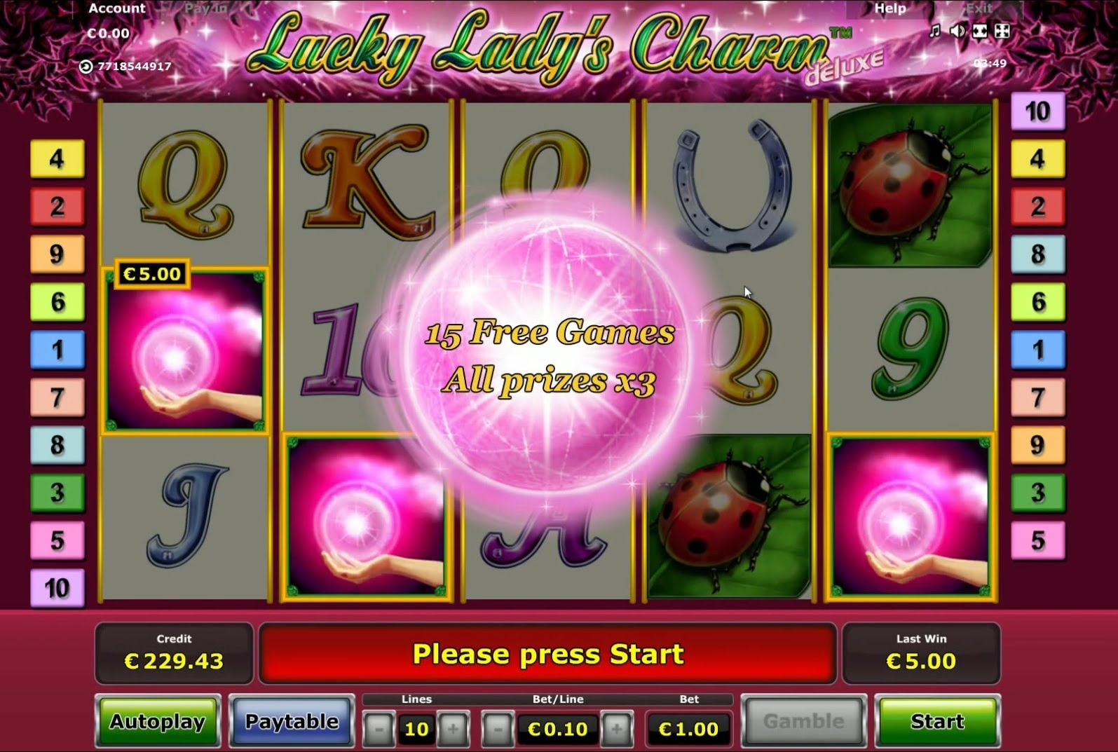 play lucky lady charm free online