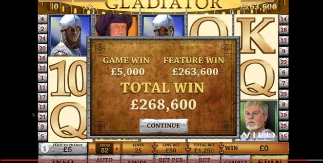 Gladiator slot big win