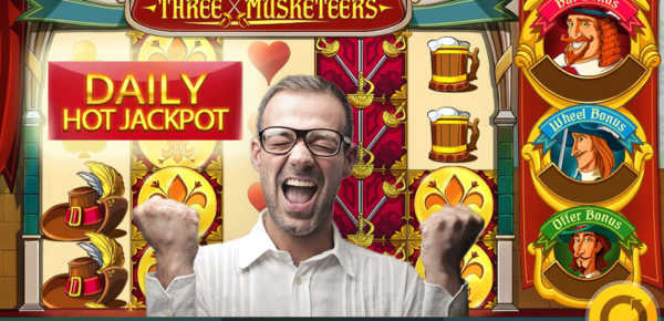 Three Musketeers slot machine with daily jackpot